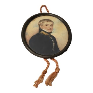 19th Century Miniature Portrait of a Young Military Man For Sale
