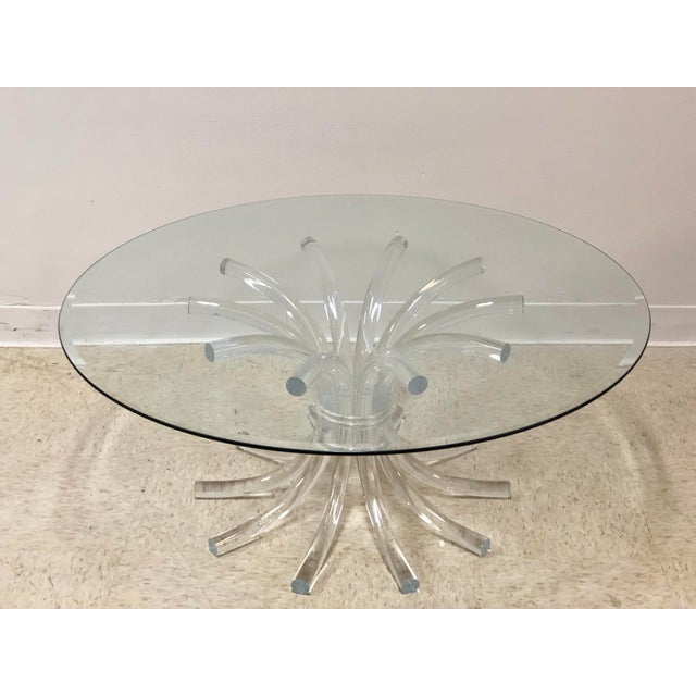 Lucite & Glass Wheat Sheaf Coffee / Cocktail Table - Image 7 of 8