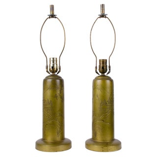 Signed Japanese Mt. Fuji Engraved Brass Lamps - a Pair For Sale