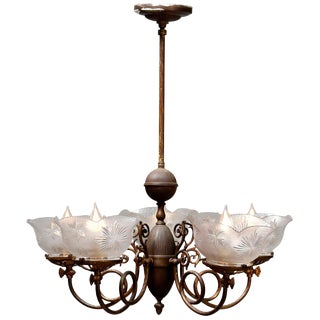 Antique Victorian Scroll Arm Brass & Glass Electrified Gas Chandelier Circa 1880 For Sale