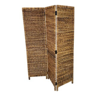 Late 20th Century Vintage Woven Wicker 3 Panel Screen Room Divider For Sale