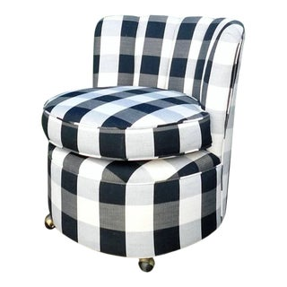 1950s Bufala Check Swivel Chair For Sale