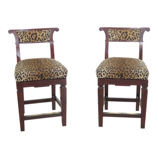 Hancock & Moore Leopard Print High Bar Chairs - a Pair For Sale