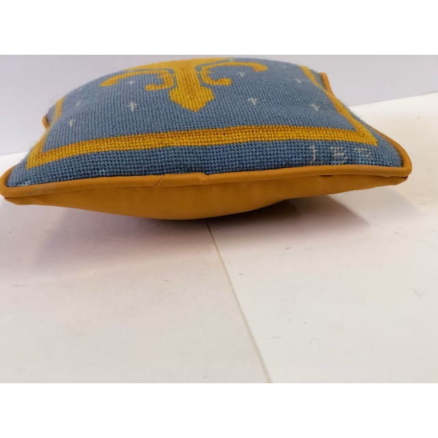 Cornflower Blue Vintage Fleur-De-Lis Petite Needlepoint Pillow For Sale - Image 8 of 10