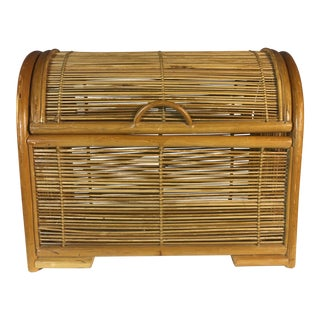 Vintage Rattan Domed Top Storage Box For Sale
