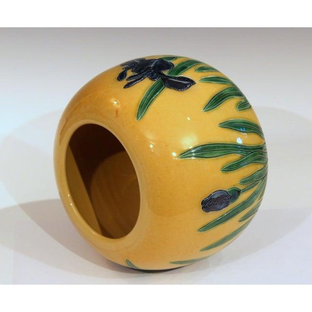 Large Tanabe-Awaji Pottery Japanese Incised Iris Signed Jardinière Bowl Vase For Sale - Image 4 of 9