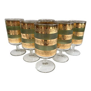 Mid-Century Modern 22k Gold & Green Culver 'Starlyte' Glasses - Set of 6 For Sale
