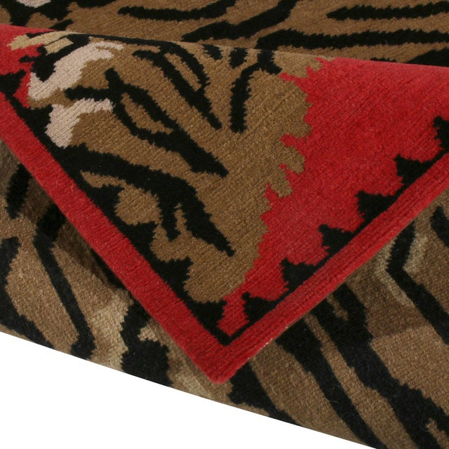 2020s Rug & Kilim's Tiger Pictorial Red Orange and Black Wool Rug For Sale - Image 5 of 6