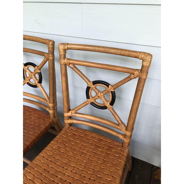 McGuire McGuire Rattan Rawhide Target Chairs- Set of 6 For Sale - Image 4 of 13