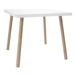 """Tippy Toe Small Square 23.5"""" Kids Table in Maple With White Finish Accent For Sale"""