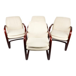 Mid-Century Modern Minimalist Cream Upholstered Arm Chairs - Set of 4