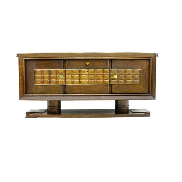Brutalist Credenza, Sideboard by Charles Dudouyt, France, Circa 1940s For Sale