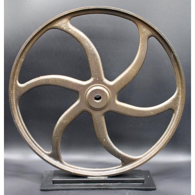Vintage Lathe Wheel on Custom Mount For Sale - Image 10 of 10