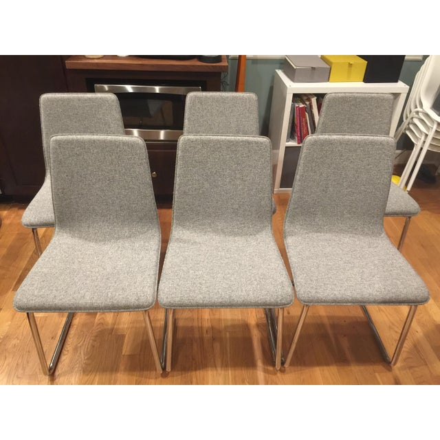 Contemporary CB2 Tweed Breuer-Style Dining Chairs - Set of 6 - Image 2 of 7