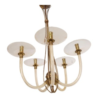 Mid Century Sculptural Modern Italian Murano Chandelier Five Arms For Sale