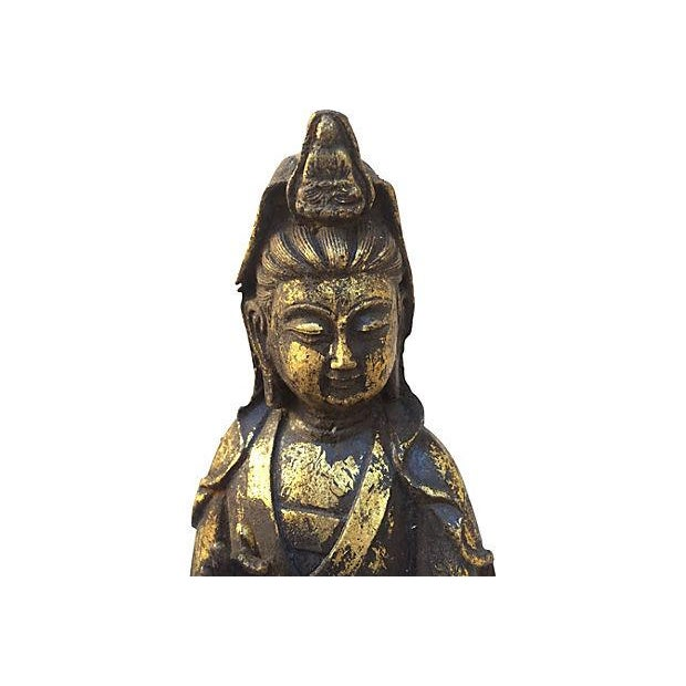 Quan Yin on Lotus Cast Iron Statue For Sale - Image 9 of 9
