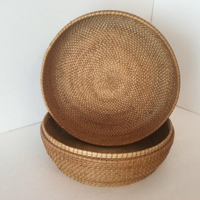 Late 20th Century Woven Basket & Lid For Sale - Image 5 of 11