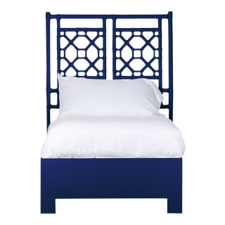 Lattice Back Bed Twin Extra Long - Navy Blue For Sale