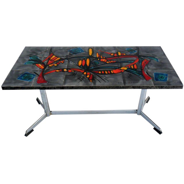 "Signed Vallauris ""La GRANGE""coffee Table For Sale"