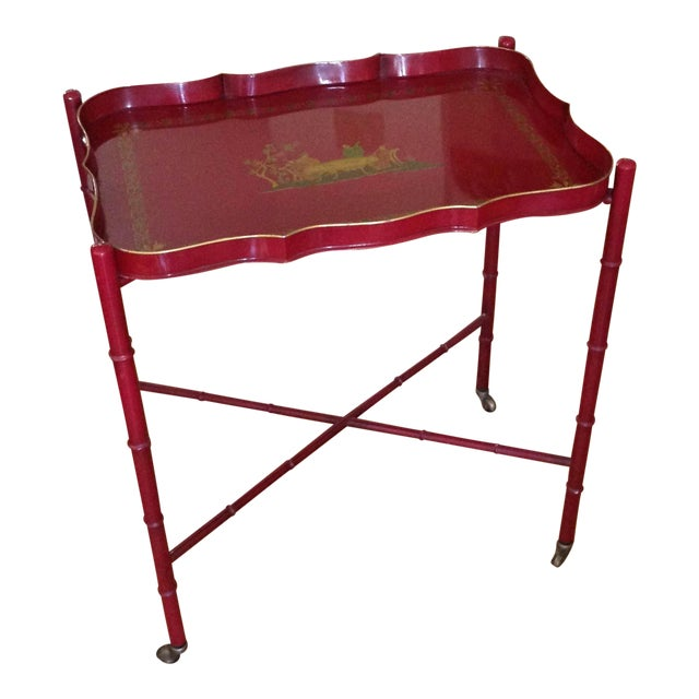 Superb Chinoiserie Style Tole Tray Table on Original Stand For Sale