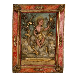 Circa 1750 Spanish Polychrome Wood Carving of St. John For Sale