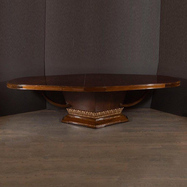 Art Deco Book Matched Mahogany Dining Table With 24-Karat Gilt Acanthus Details For Sale - Image 4 of 12