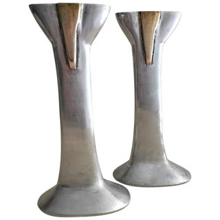 David Marshall Cast Aluminum & Brass Candlesticks- A Pair For Sale
