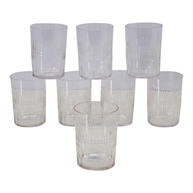Antique Hand Cut Crystal Whiskey Tumbler Glasses - Set of 8 For Sale