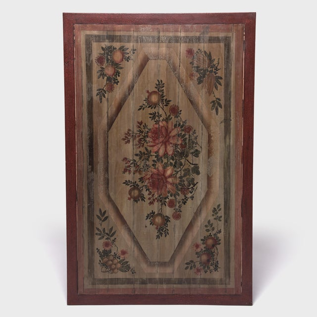 Chinese Painted Floral Longevity Panel For Sale