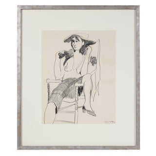 "Alysanne McGaffey ""The Fox Fur"" Seated Modernist Figure in Graphite, 1950s 1950-1960s For Sale"