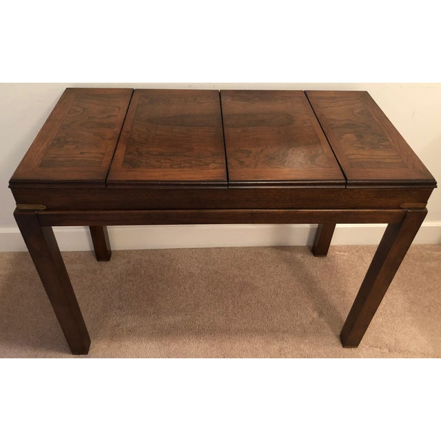 Lane Mid-Century Backgammon Campaign Console Table For Sale In New York - Image 6 of 13