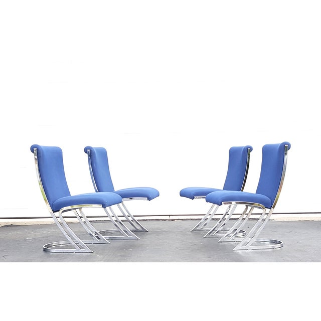 Mid-Century Pierre Cardin Z-Back Chrome Cantilever Dining Chairs - Set of 4 For Sale - Image 9 of 9