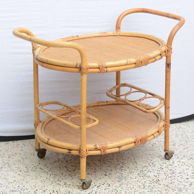 Modern Bamboo Bar Cart, Usa 1965 For Sale - Image 3 of 10