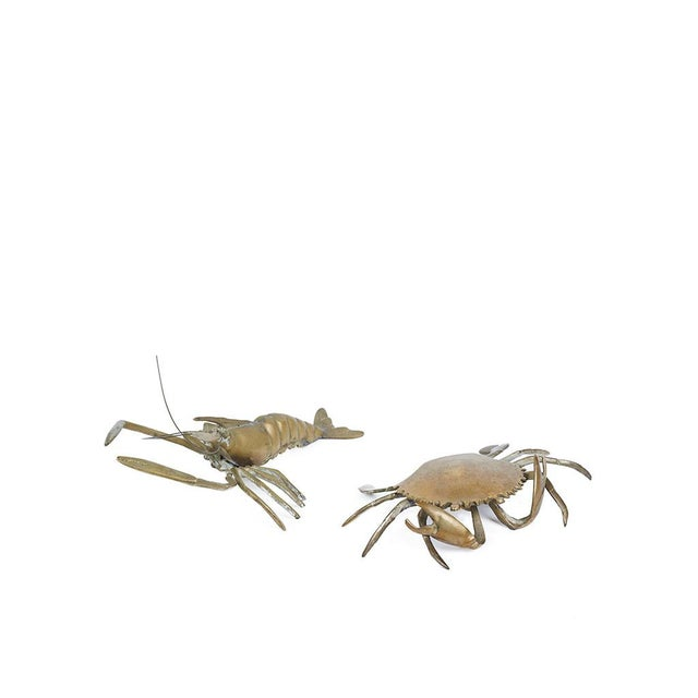 "Small vintage brass crab and crawdad looking for a new home. The crab also is also a mini-box! Crab Dimensions: 7""W x..."