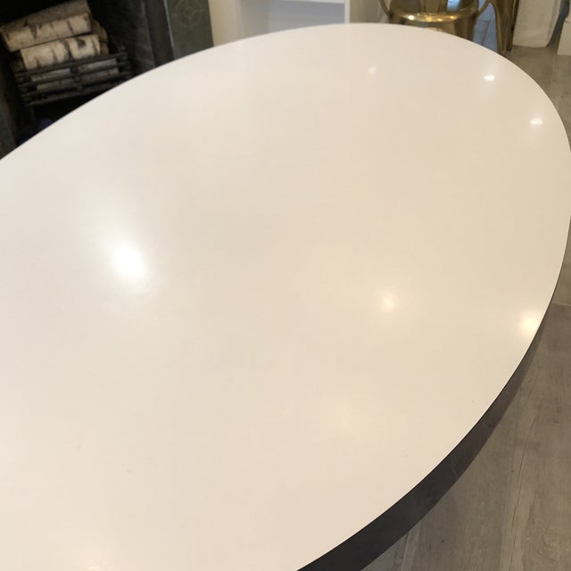 White Contemporary ICF Blue & White Oval Table With Metal Base For Sale - Image 8 of 13