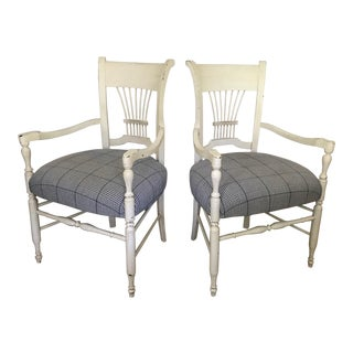 """Baker """"Milling Road"""" Spindle Back Arm Chairs- a Pair For Sale"""
