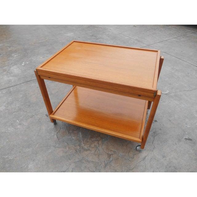 Paper 1960s Danish Modern Flip Top Teak Serving Cart / Table For Sale - Image 7 of 7