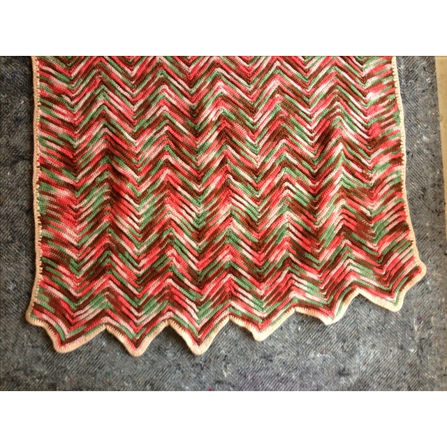 Hand Knitted Zig Zag Wool Throw - Image 3 of 5