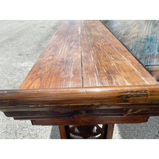 Brown Chinese Elm Altar Large Console Table For Sale - Image 8 of 13