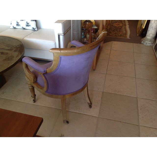 Mid-Century Modern Italian Scroll Desk Chair New Lush Lilac Fabric Mid Century Modern For Sale - Image 3 of 4