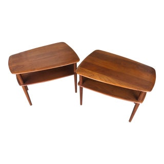 1950s Danish Modern Peter Hvidt Solid Teak End Tables - a Pair For Sale