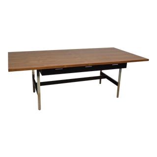 John Stuart Large Teak & Chrome Desk For Sale