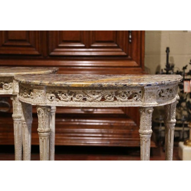 Pair of 19th Century Louis XVI Carved Painted Demilune Consoles With Marble Top For Sale - Image 4 of 10