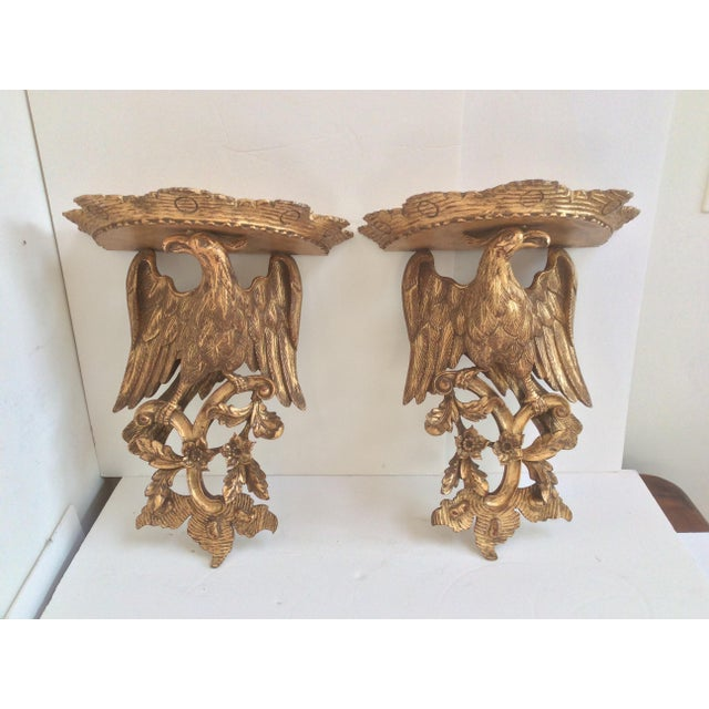 Gold Chippendale Style Wood Wall Sconces - a Pair For Sale - Image 8 of 8