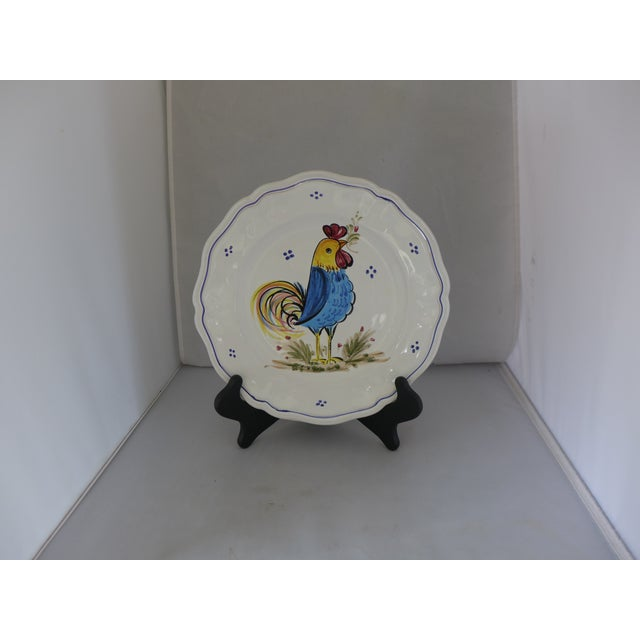 """Italian Ceramic Dinner Plate depicting a rooster with Maker's mark that reads """"Deruta Ceramiche Made in Italy"""". Excellent!"""