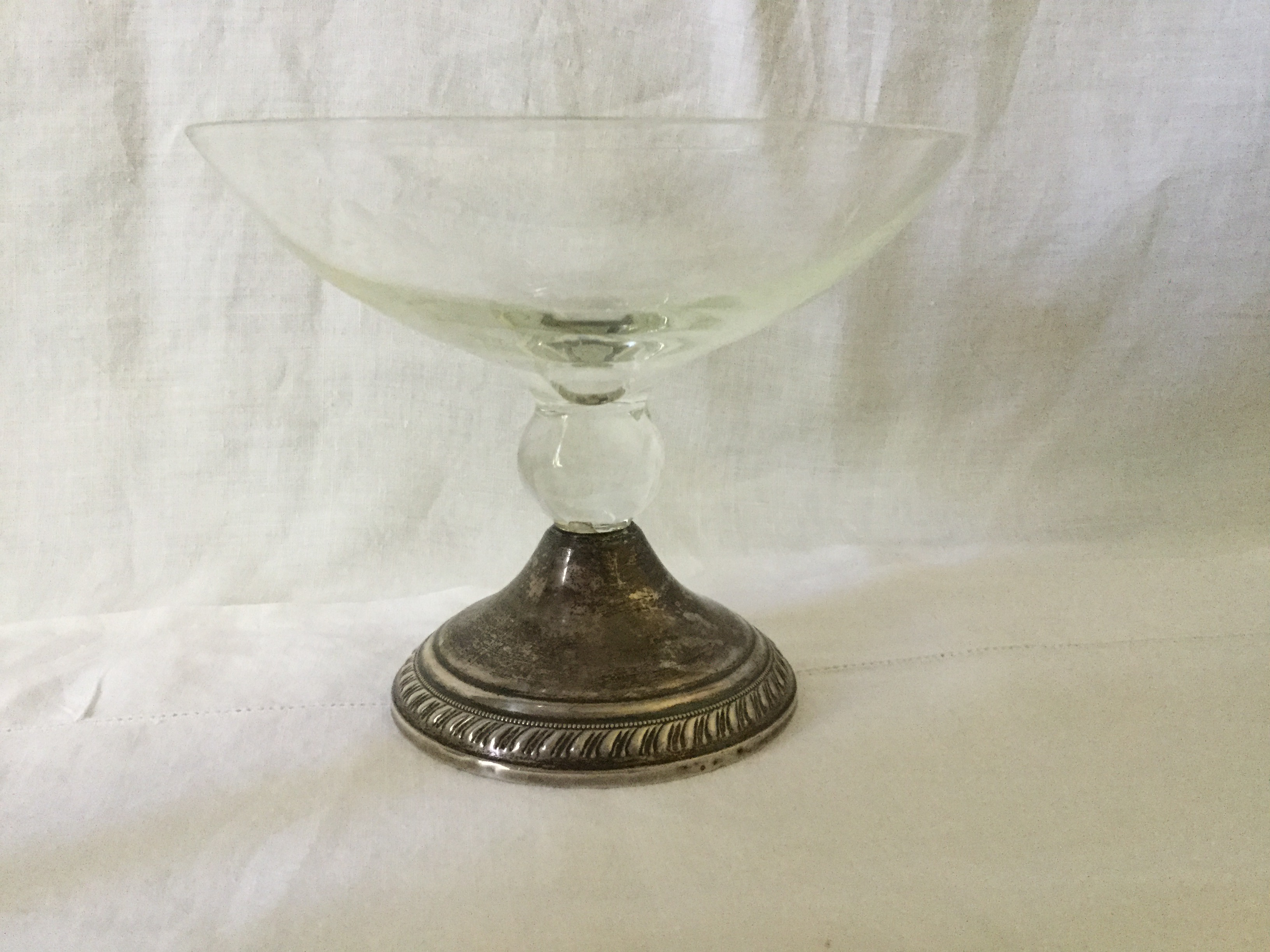 Duchin Creations Vintage 1960s Etched Glass Bud Vase with Sterling Silver Weighted Base