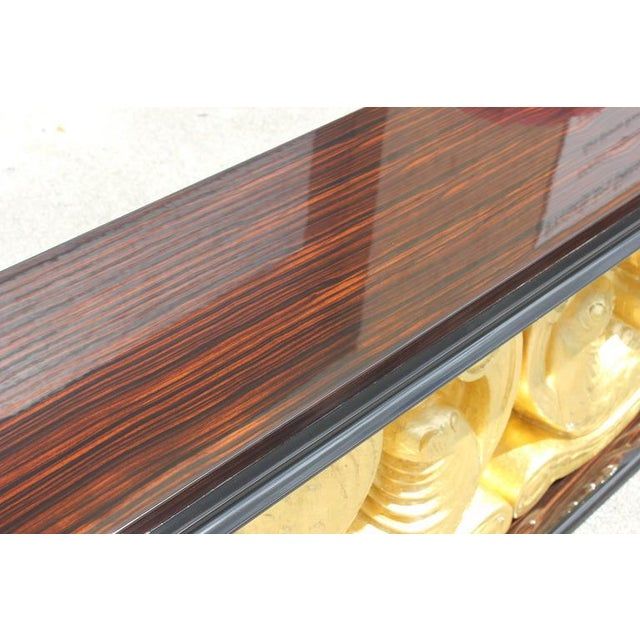 Wood 1930s French Art Deco Macassar Ebony Giltwood Console Table For Sale - Image 7 of 12