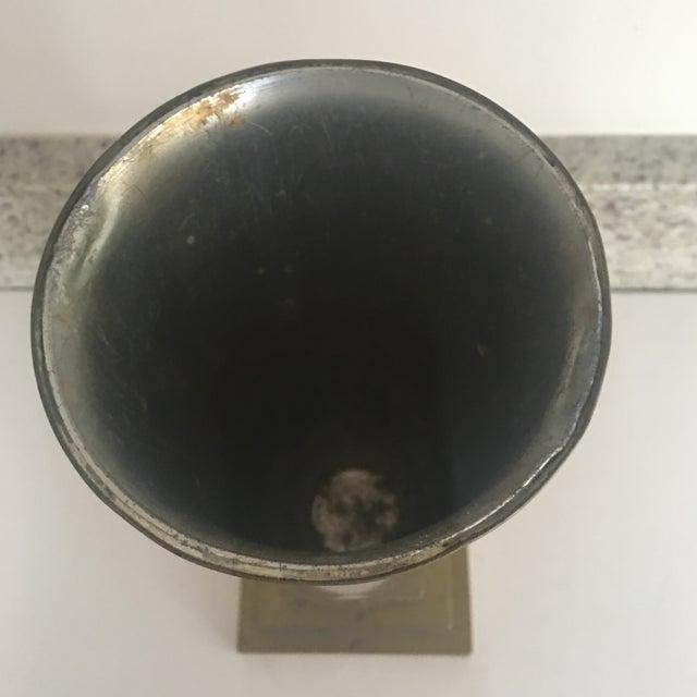 Vintage Art Deco Style Fluted Brass Vase For Sale - Image 4 of 9