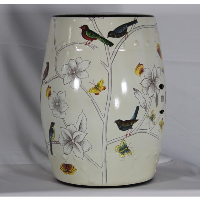 2010s Modern Contemporary Floral Porcelain Garden Stool For Sale - Image 5 of 7