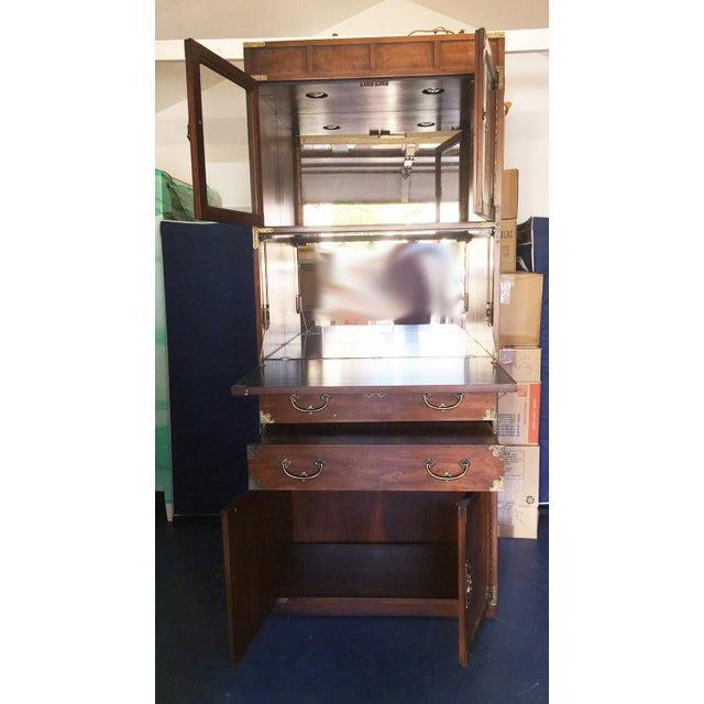 1970s Henredon Etched Brass Chinoiserie Campaign Bar Desk Bookcase Cabinet For Sale - Image 5 of 10